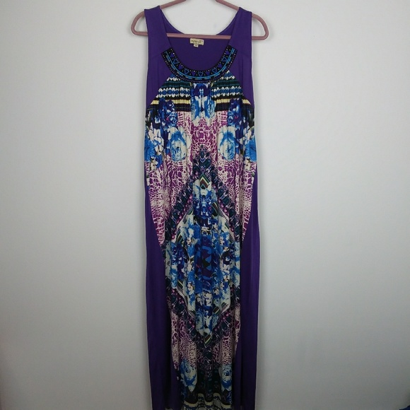 One World Women\'s Purple Plus Size 2X Maxi Dress